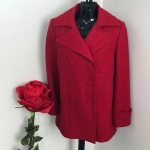 Holiday red pea coat excellent condition Size 4